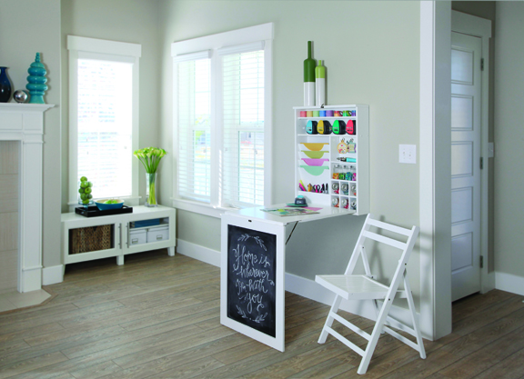 Save Even More Space By Folding The Craft Table Up, And It Becomes A  Decorative Chalkboard That Can Be Replaced With Photos Or Artwork.