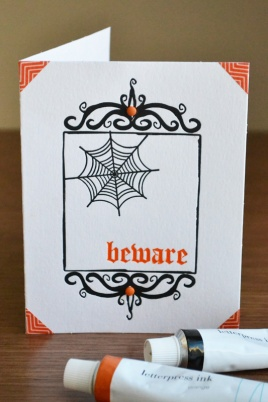 WRMK_seasonal letterpress cards halloween_aly dosdall