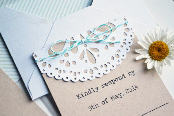 We R DIY Doily Wedding Invitations by Aly Dosdall 1