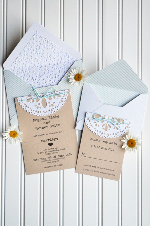 We R DIY Doily Wedding Invitations by Aly Dosdall 3
