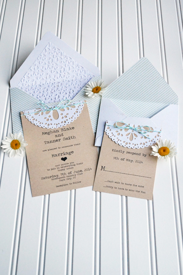 Diy Wedding Gift Using Invitation : These easy to make doily wedding invites are simple yet beautiful ...