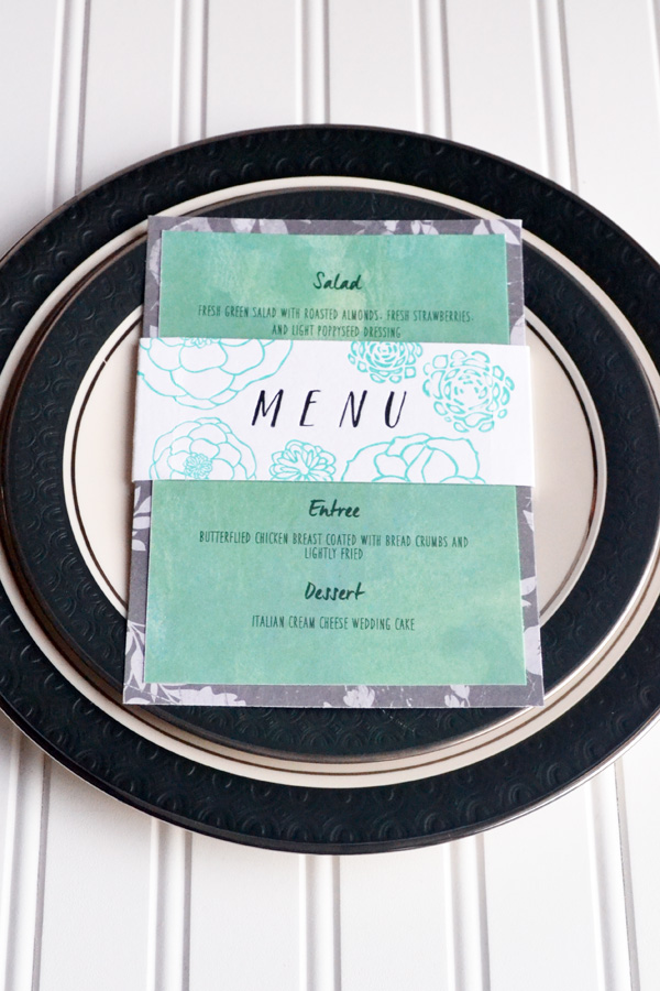 We R Letterpress Wedding Menu Card by Aly Dosdall