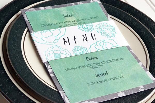 We R Letterpress Wedding Menu Card by Aly Dosdall_close 1