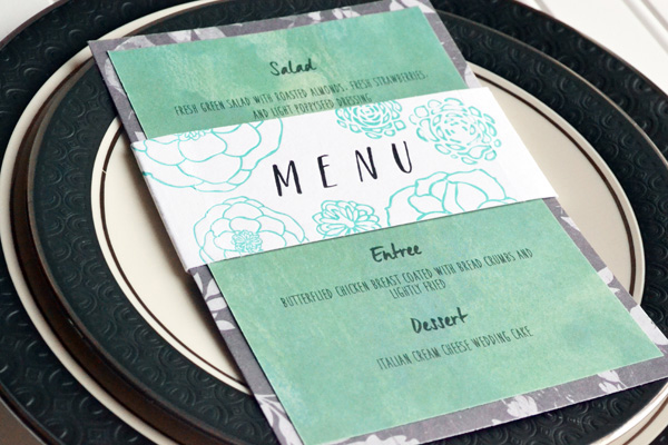 We R Letterpress Wedding Menu Card by Aly Dosdall_close 1
