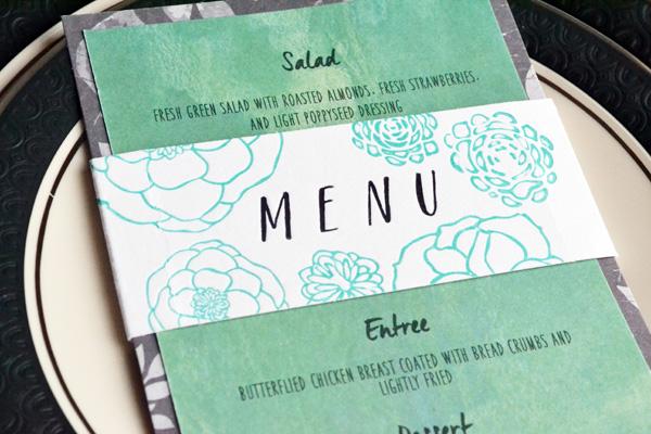 We R Letterpress Wedding Menu Card by Aly Dosdall_close 2