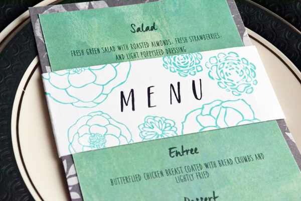 We R Letterpress Wedding Menu Card by Aly Dosdall_close 2