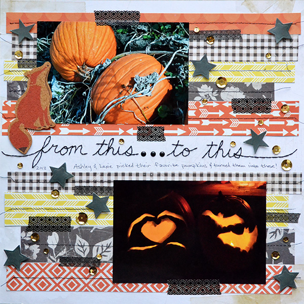 Halloween Transformations Scrapbook Layout by Aly Dosdall for We R Memory Keepers #halloween #scrapbookpage #scrapbooking