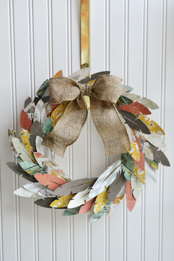 Paper Feather Wreath by Aly Dosdall