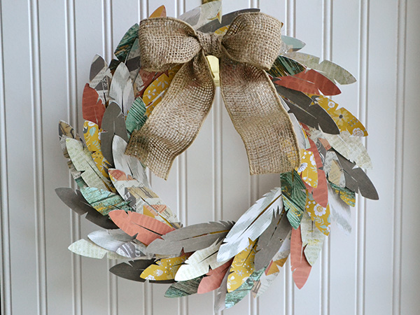Paper Feather Wreath by Aly Dosdall_1