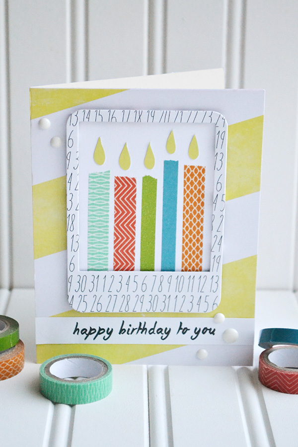 Washi Tape Candle Card by Aly Dosdall 1