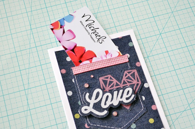 denim pocket gift card holder