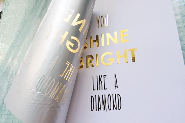 DIY gold foil print in minc heat sleeve