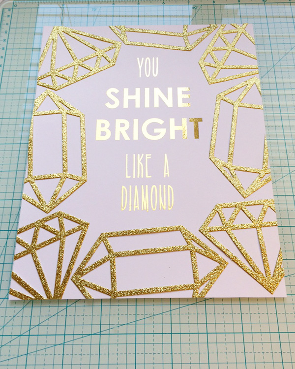 DIY gold foil print with glitter gem embellishments for mothers day