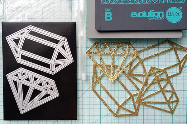 We R evolution advanced gem dies with glitter paper