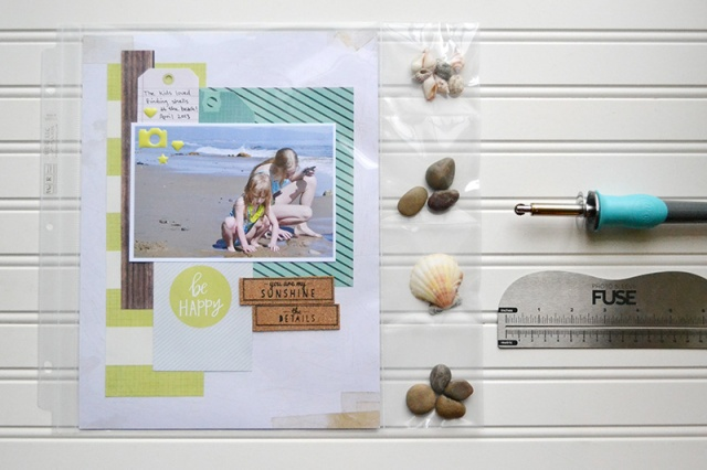 photo sleeve fuse beach layout using 12x12 page protector by Aly Dosdall