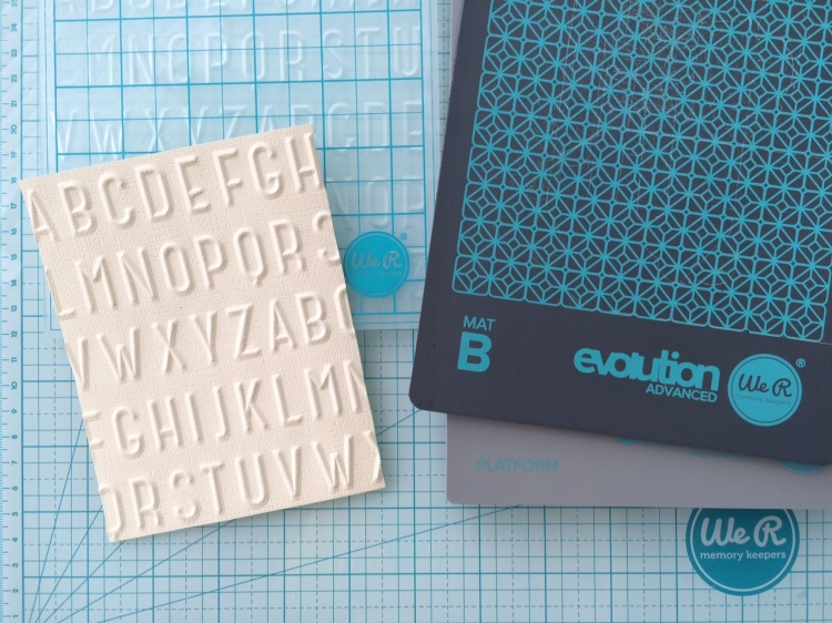next level embossing folder_ABC 123 on solid core cardstock