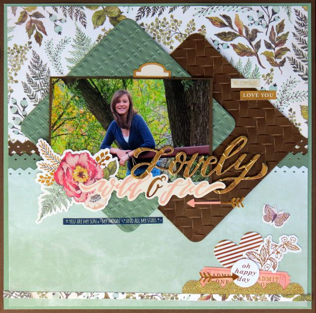 Scrapbook layout using the We R Memory Keepers Wildflower collection and Woven Next Level Embossing Folders by designer Carrie Walz. #30DaysOfEvolution #dryembossing