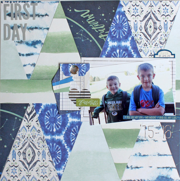 First Day of School layout by designer Samantha Taylor featuring the We R Memory Keepers Wildflower collection and Banner Punch Board. #wermemorykeepers #bannerpunchboard