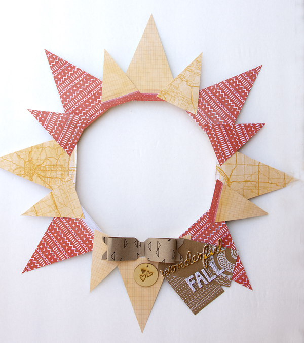 Banner Punch Board fall wreath by Jennie McGarvey for We R Memory Keepers. #bannerpunchboard #falldecor