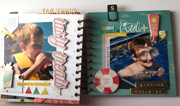Summer Mini Album made using the We R Memory Keepers Cinch binding tool by designer Jen McDermott #wermemorykeepers #thecinch
