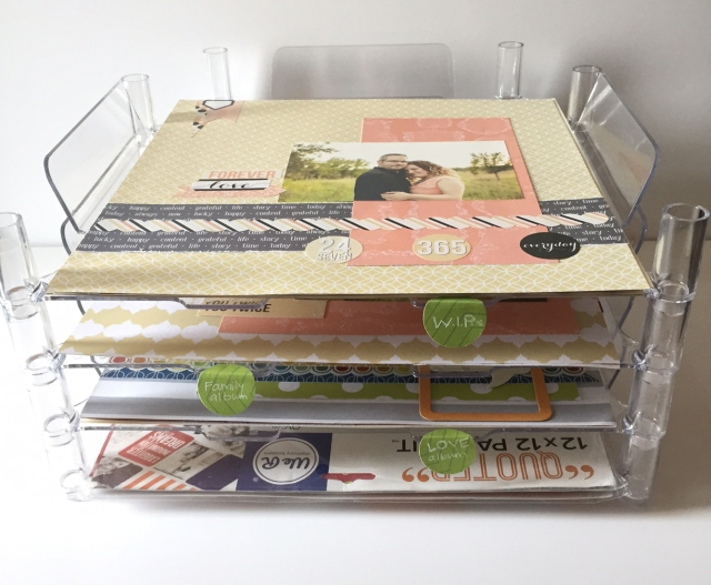Scrapbook supply organization by designer Jen McDermott using the new We R Memory Keepers Stackable Trays #wermemorykeepers #stackabletrays #organization