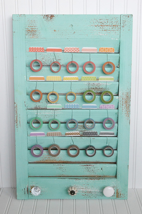 Designer @AlyDosdall uses the We R Memory Keeper Shutter Memo Holder to store her washi tape. #storage #organization #shutter