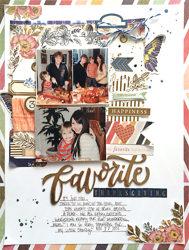 Favorite Thanksgiving layout by Daniela Dobson for We R Memory Keepers #scrapbooklayout #thanksgiving #wildflower