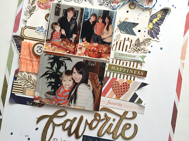 Favorite Thanksgiving layout close up by Daniela Dobson for We R Memory Keepers #scrapbooklayout #thanksgiving #wildflower