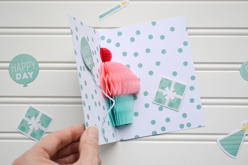 Honeycomb cupcake pop up card video tutorial we r memory keepers diy partybirthday card by aly dosdall 2 bookmarktalkfo