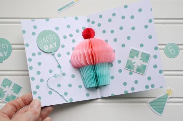 Honeycomb cupcake pop up card video tutorial we r memory keepers blog - Geburtstagskarte pop up ...