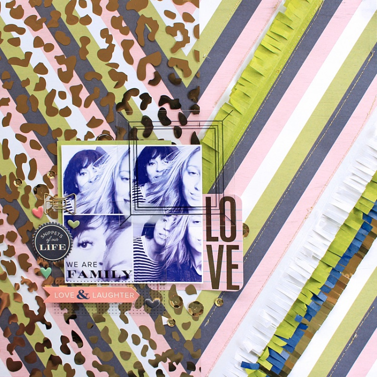 Love & Laughter layout with Fringe Tape by Chantalle McDaniel for We R Memory Keepers