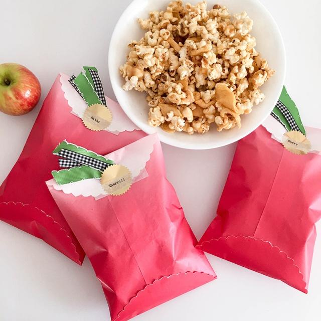 fall gift idea caramel apple popcorn goodie bags we r