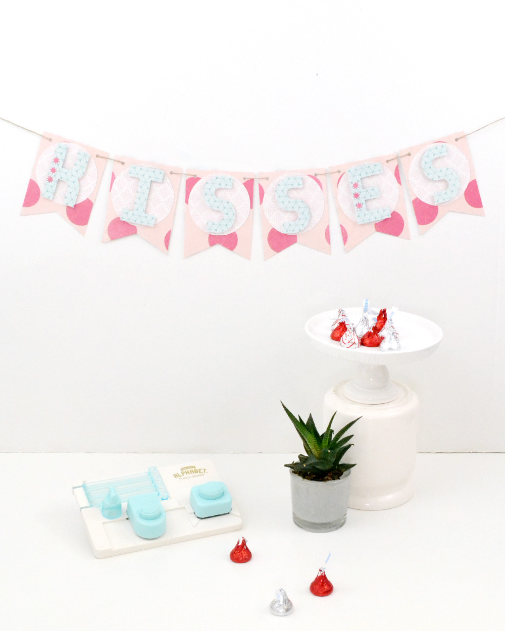 Mini Alphabet Punch Board Valentine's Day Banner by Aly Dosdall