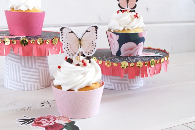 DIY Party Board Cupcake Stand by Kimberly Crawford for We R Memory Keepers