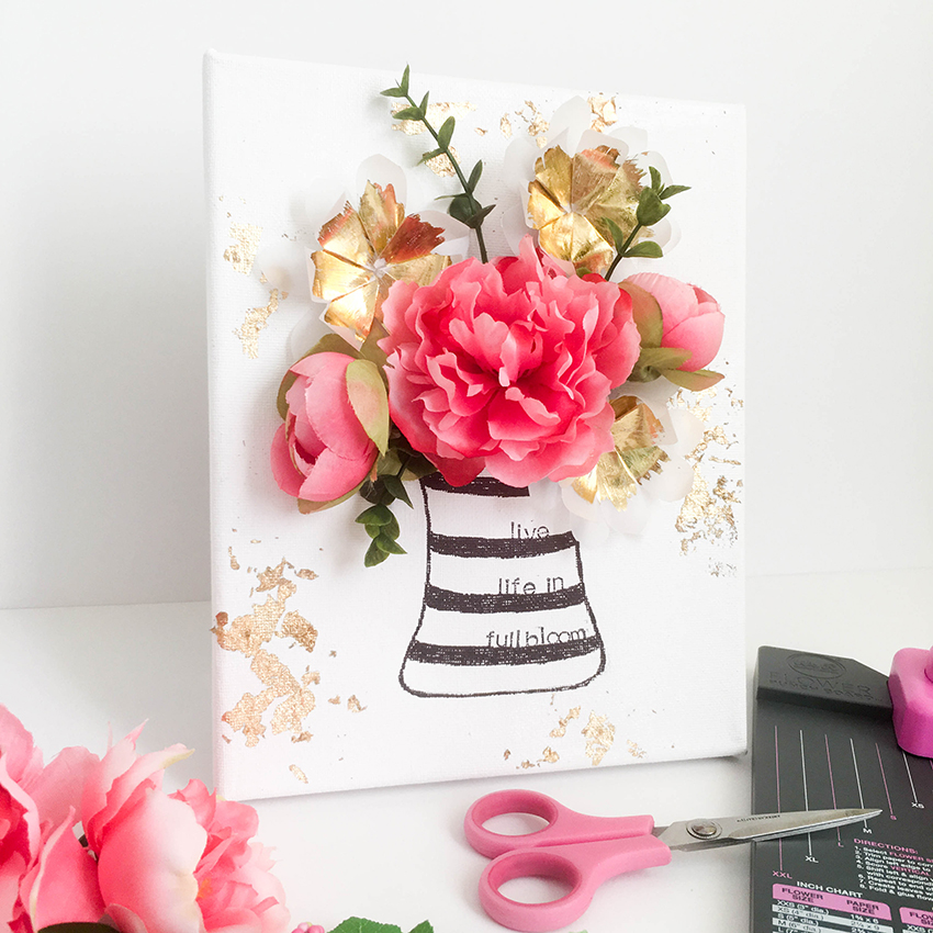 Flower punch board canvas we r memory keepers blog for Diy flower canvas wall art