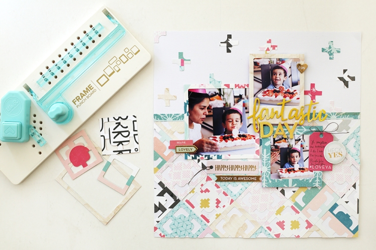 Summer Scrapbook Page with the Frame Punch Board by Eva Pizarro for We R Memory Keepers