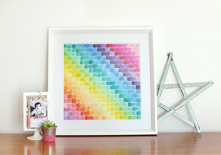 Framed Watercolor Art with the Supreme Ruler by Eva Pizarro for We R Memory Keepers