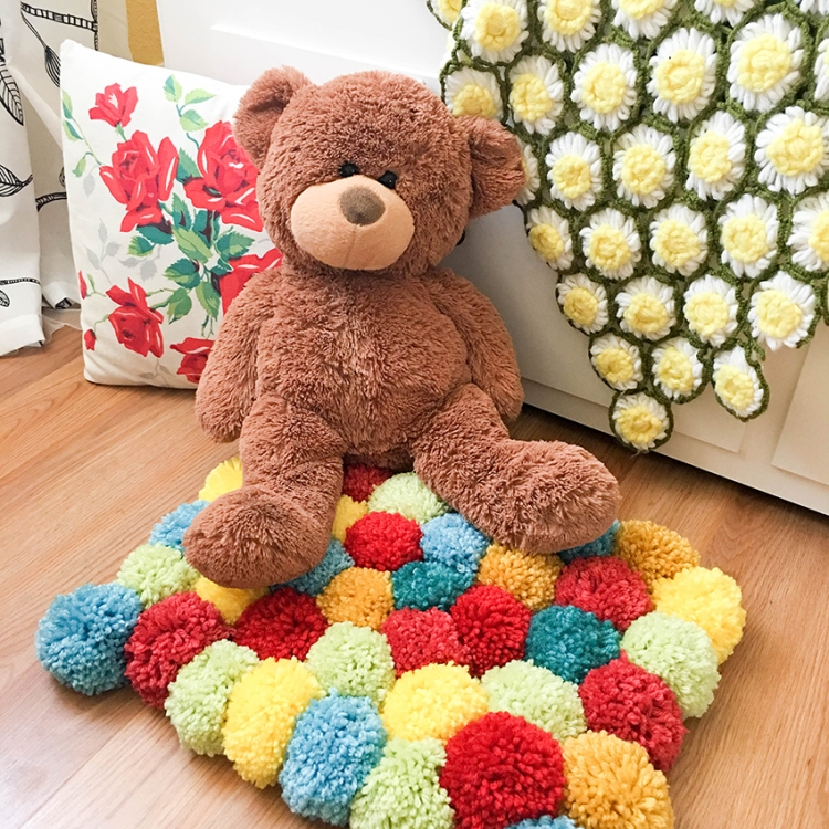 DIY Pom Pom Rug by Tessa Buys for We R Memory Keepers, featuring the DIY Party Pom Pom Maker
