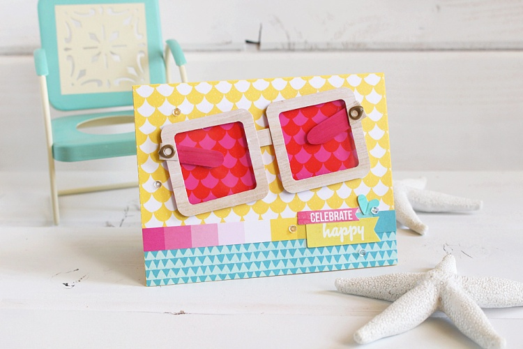 Frame Punch Board sunglasses card by Kimberly Crawford for We R Memory Keepers