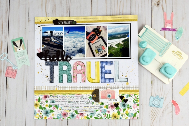 Travel Layout featuring the Mini Alphabet Punch Board by Becki Adams for We R Memory Keepers