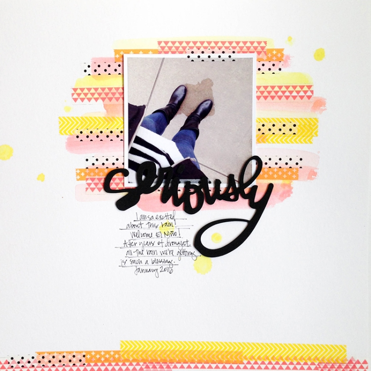 Washi Tape and Watercolor Scrapbook Page by Tessa Buys for We R Memory Keepers