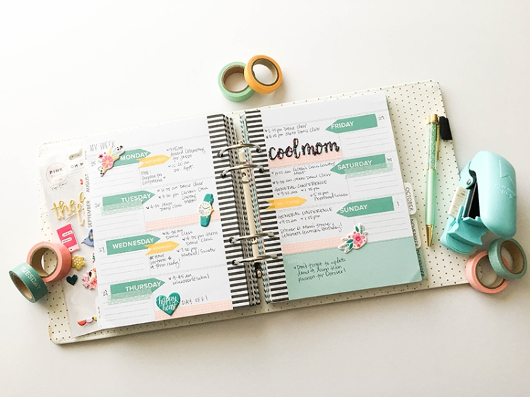 Planner Spread with the We R Memory Keepers Washi Chomper by Tessa Buys