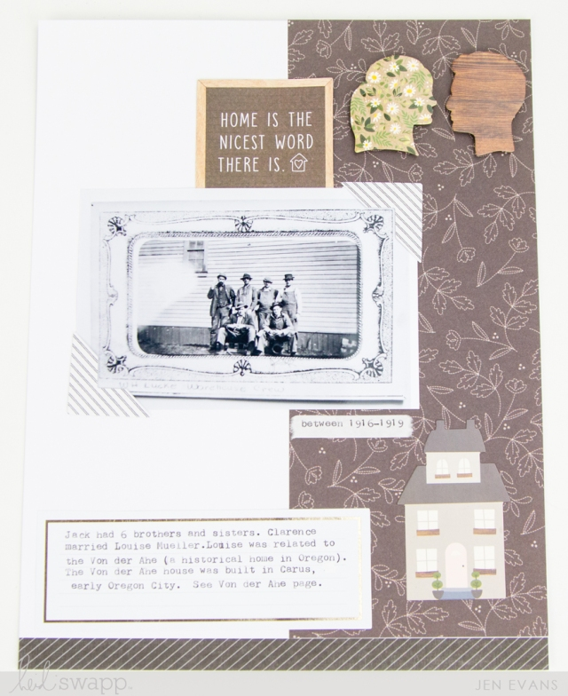 Scrapbook page by Jennifer Evans featuring the Heidi Swapp Storyline collection and the We R Memory Keepers Typecast typewriter