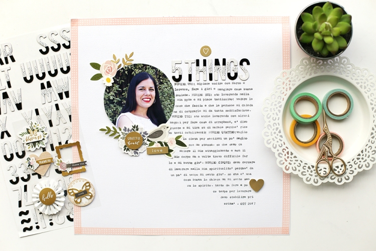 Typecast scrapbook page by Eva Pizarro for We R Memory Keepers