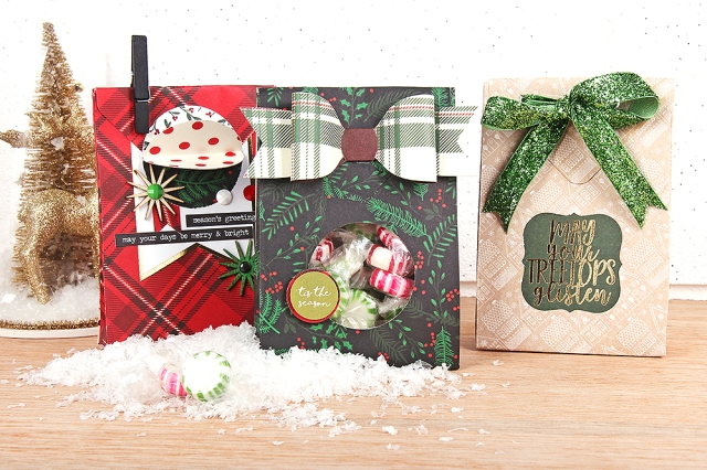 Holiday Gift Bags featuring the We R Memory Keepers Envelope Punch Board and DCWV Very Merry Premium Stack