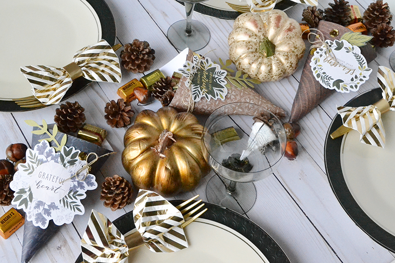 paper cornucopias for an easy thanksgiving centerpiece