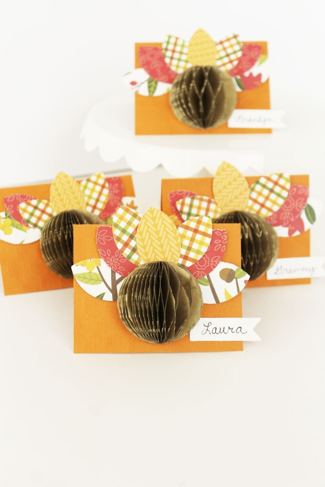 Turkey Place Cards by Laura Silva for We R Memory Keepers