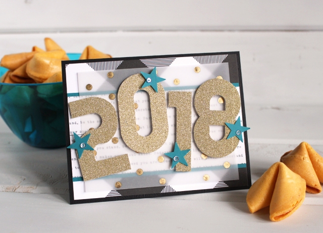 New Year Card with the Mini Alphabet Punch Board by Kimberly Crawford for We R Memory Keepers