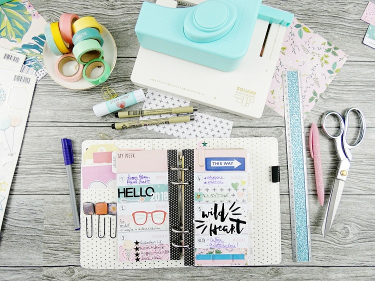 Planner Spread with the Square Punch Board by Soraya Maes for We R Memory Keepers