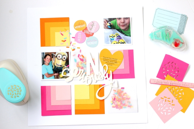Scrapbook Page with the Square Punch Board by Nancy Damiano for We R Memory Keepers
